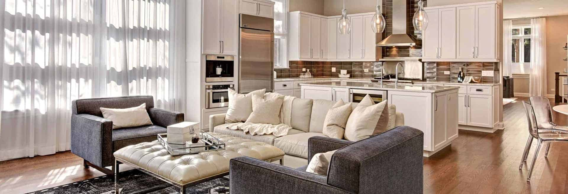 Convenient living room with white colors