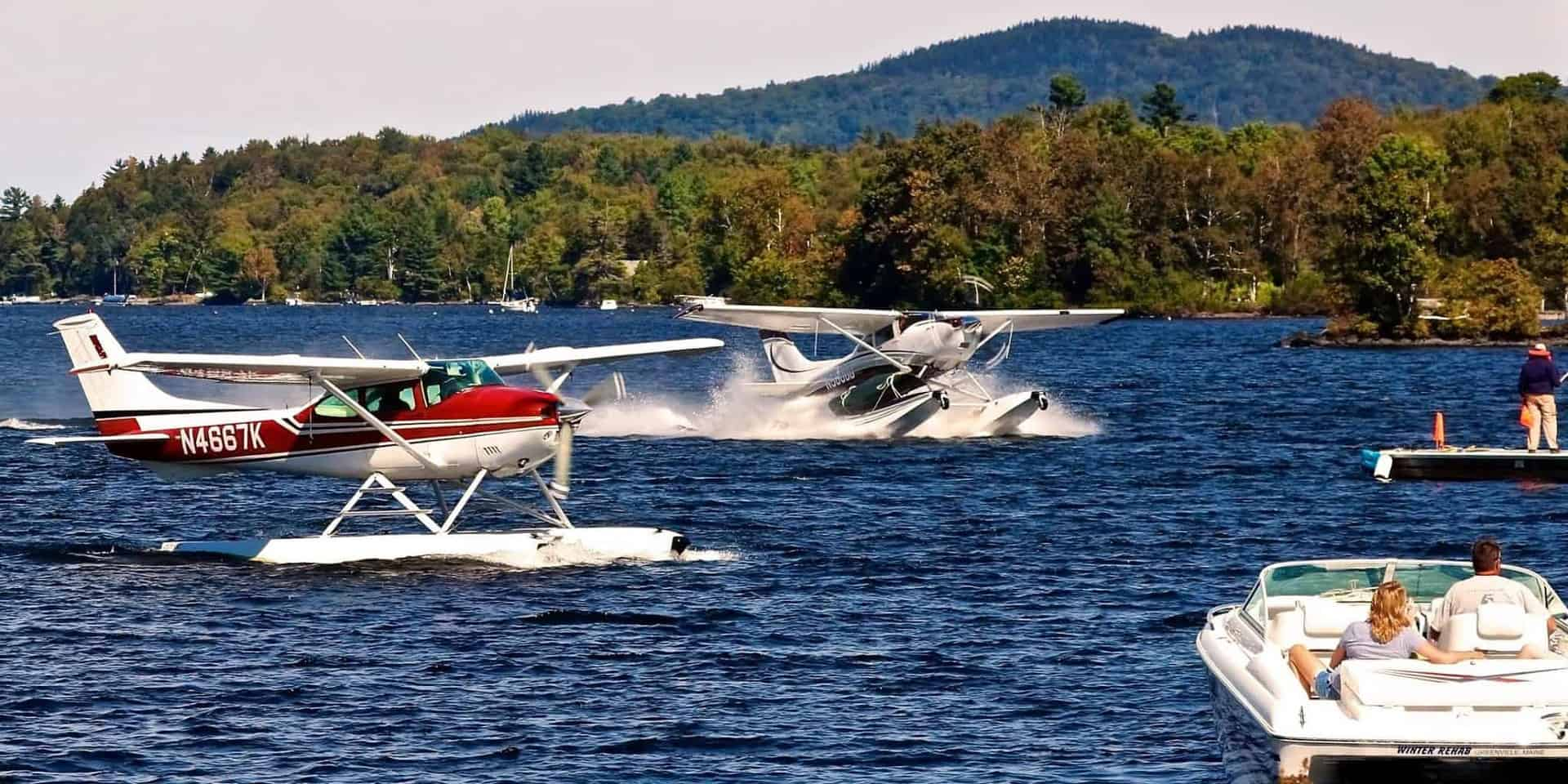 Light airplanes on the water