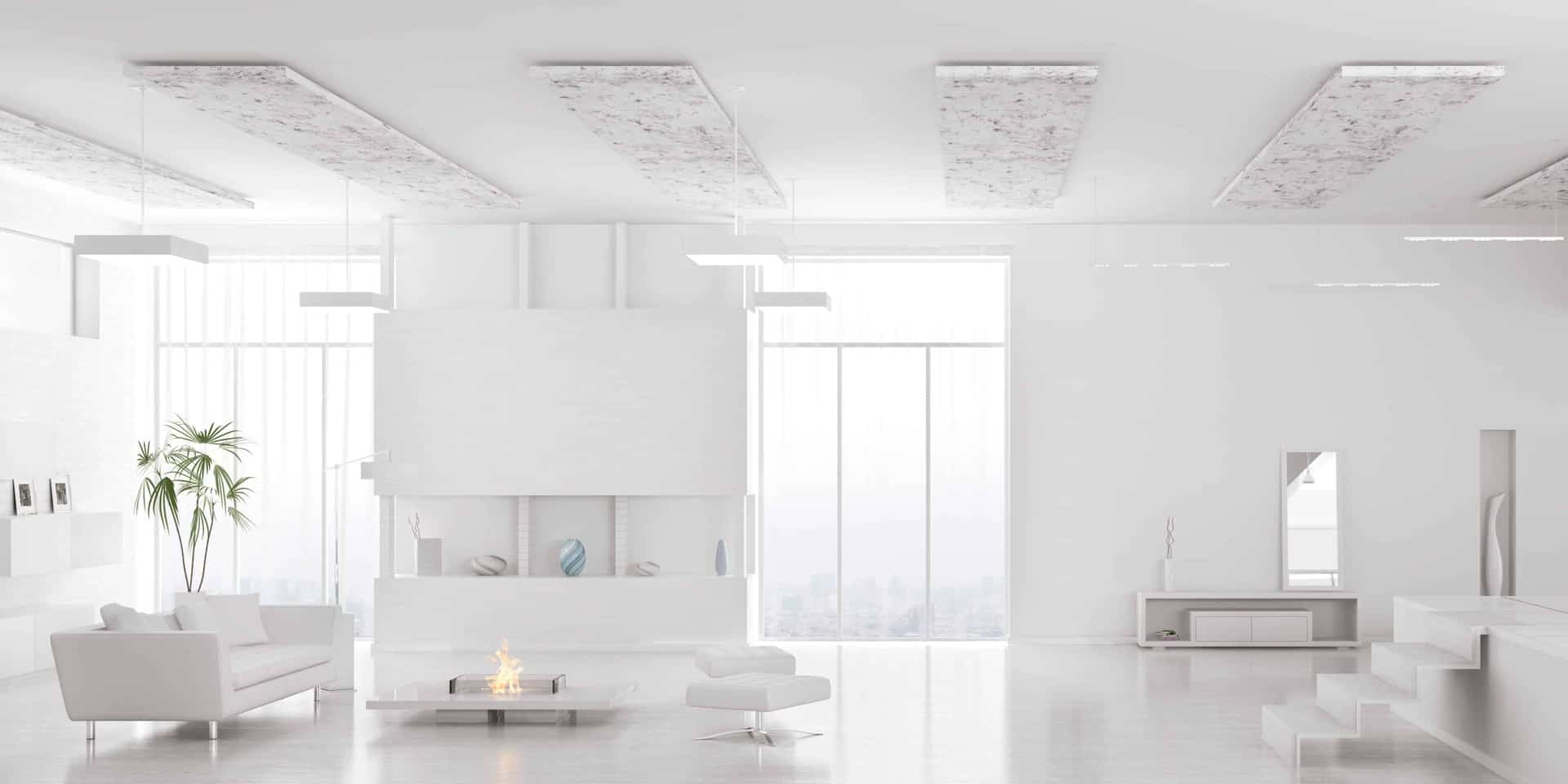 Living room with white colors