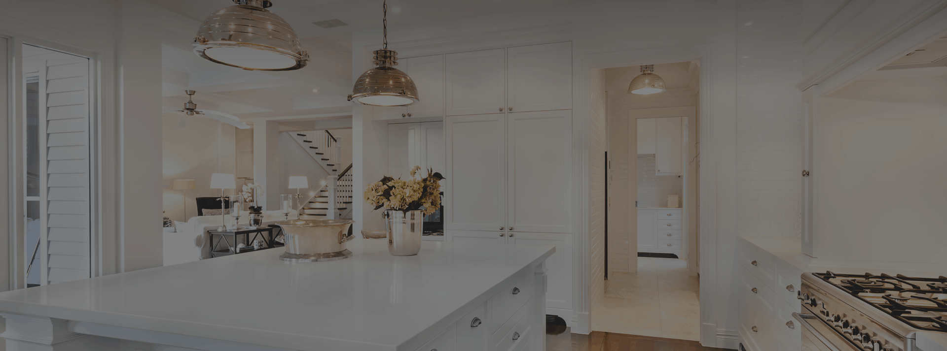 modern kitchen with white counter tops