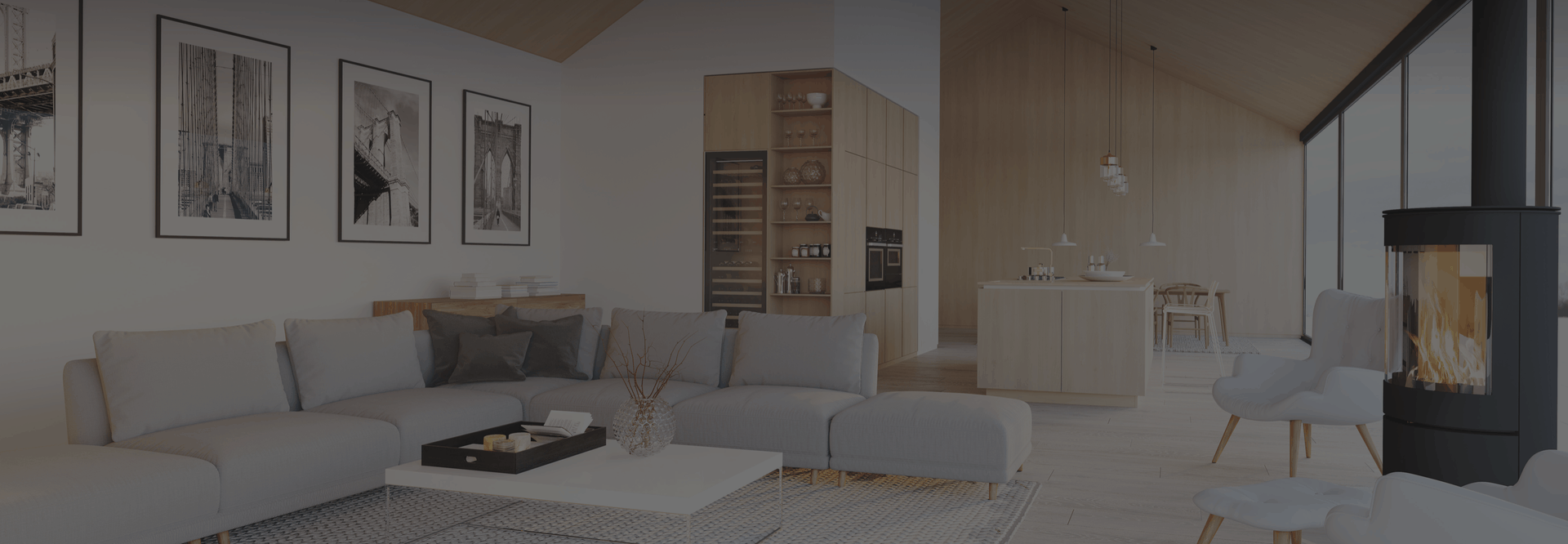 rendering of a modern living room with wood stove