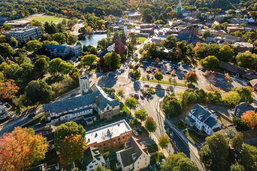 arial drone photo of Winchester, MA