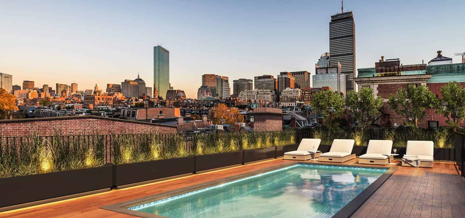 Swimming pool and city skyline view