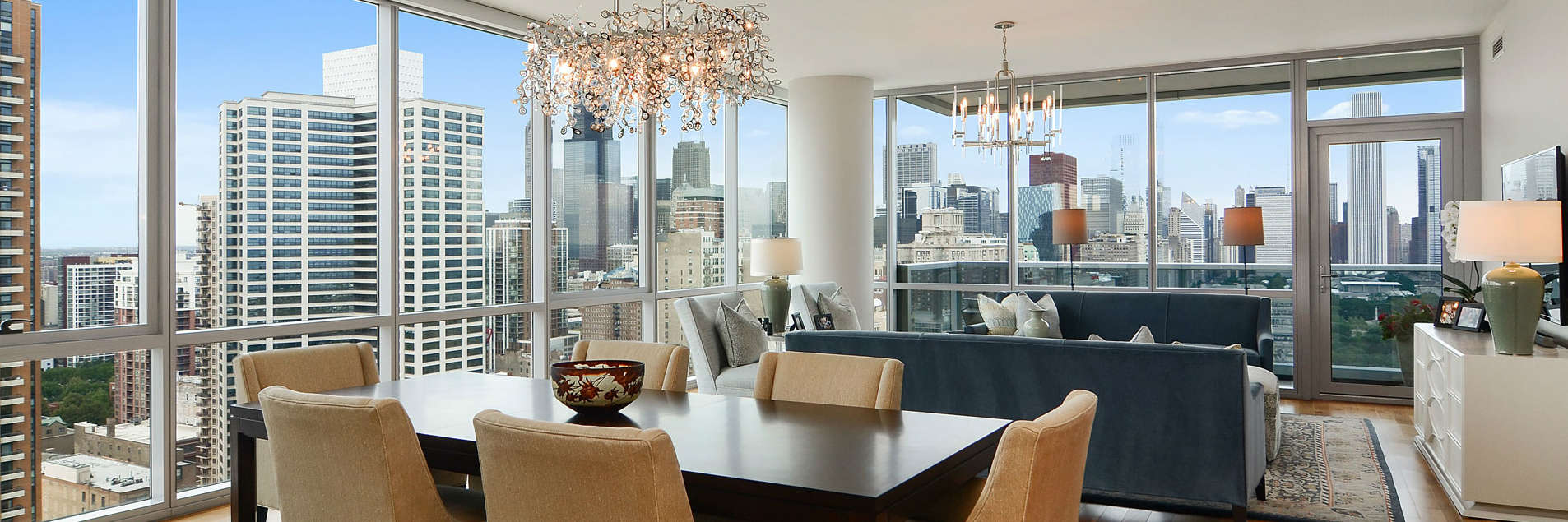 Living room with grate city views