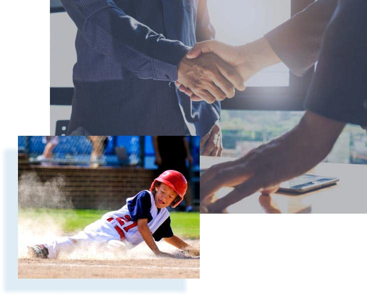 image of hand shake and child sliding into base in baseball game