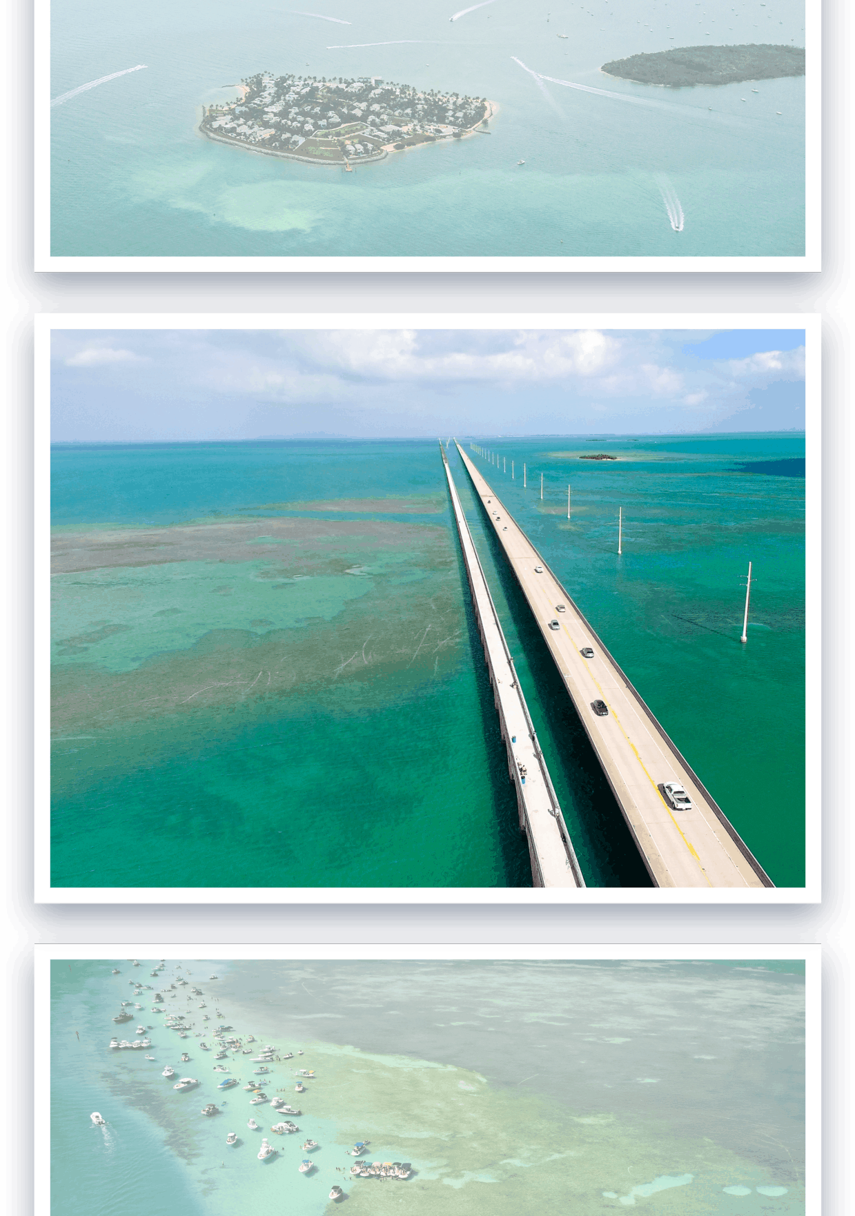 Photo strip of arial photography of the seven mile bridge in the Florida Keys