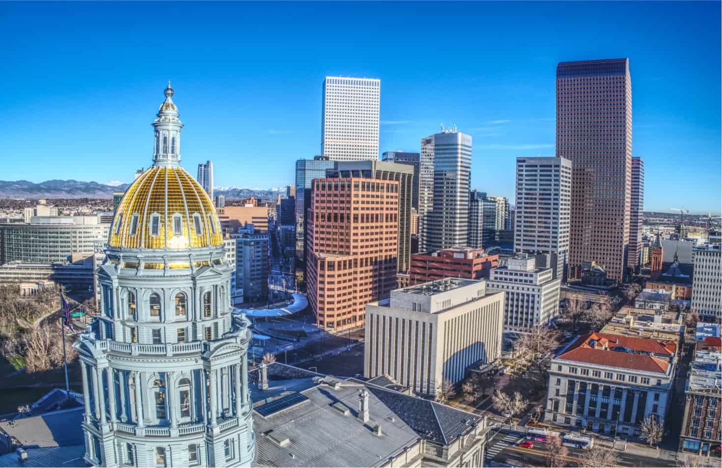 arial view of the capital building in Denver